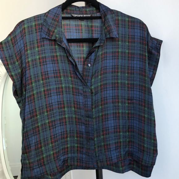 Short Sleeve Button Up with Plaid Print